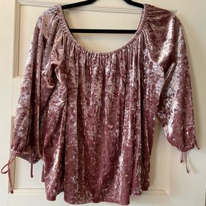 American Eagle Crushed Velvet Off The Shoulder Top
